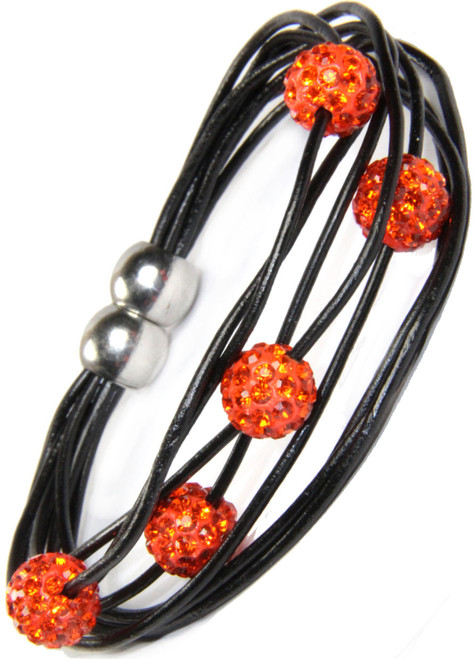 multi strap leather bracelet with orange pave beads from 2LisasBoutique.com