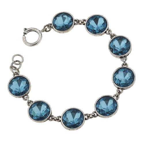 Aqua and Silver Glitz and Glam Bezel Bracelet from Jane Marie Jewelry and sold by 2 Lisas Boutique