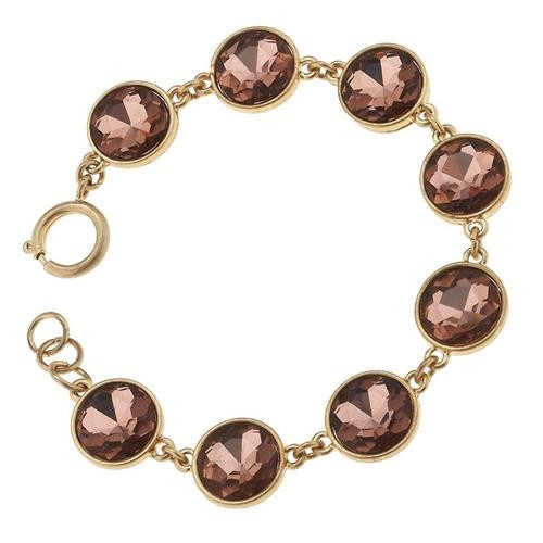 Antique Gold with Rose Rhinestone Bezel Bracelet from Jane Marie Jewelry