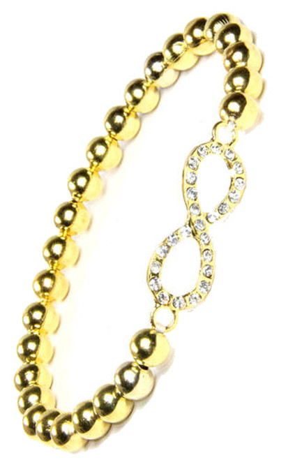 Gold beaded bracelet with rhinestone infinity by 2 Lisas Boutique