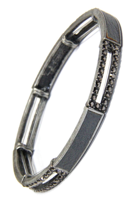 Black Diamond Crystal and Leather Inset Long Link Stretchy Bracelet