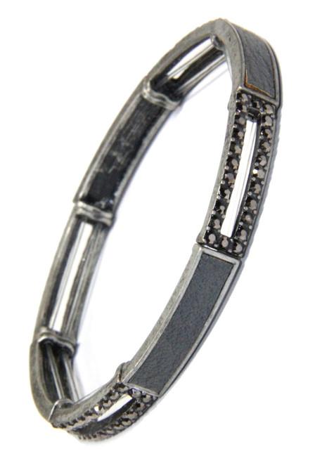 Black Diamond Crystal and Leather Inset Long Link Stretchy Bracelet