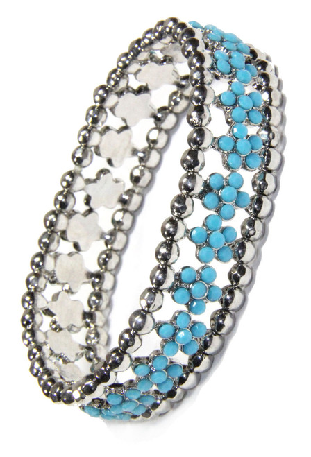 Turquoise Crystal Flower and Antique Silver Bead Stretchy Bracelet and sold 2 Lisas Boutique