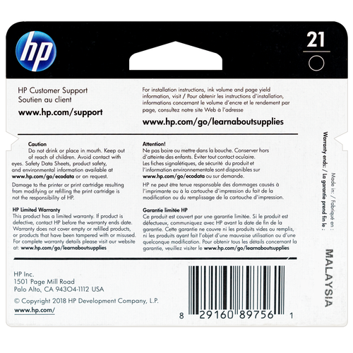 C9351AN | HP 21 | Original HP Ink Cartridge - Black