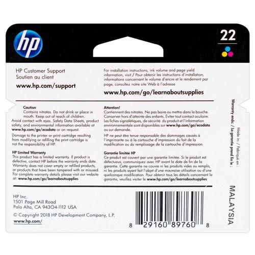 C9352AN   HP 22   Original HP Ink Cartridge – Tri-Color