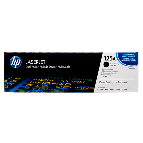 Original HP 125A Black 2-Pack CB540AD Laser Toner Cartridges Dual Pack