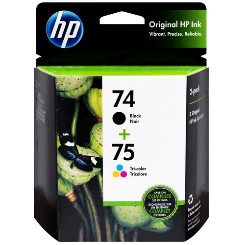 Original HP 74 Black and 75 Tri-Color Combo-Pack CC659FN