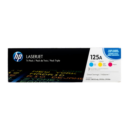 Original HP 125A CE259A LaserJet Toner Cartridges Tri-Color 3-Pack Cyan Magenta Yellow