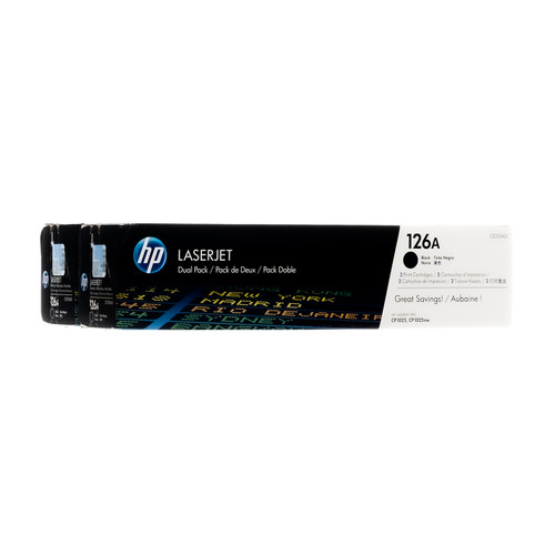 Original HP 126A Black 2-Pack CE310AD LaserJet Toner Cartridges Dual Pack