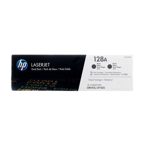 Original HP 128A Black 2-Pack CE320AD LaserJet Toner Cartridges Dual Pack