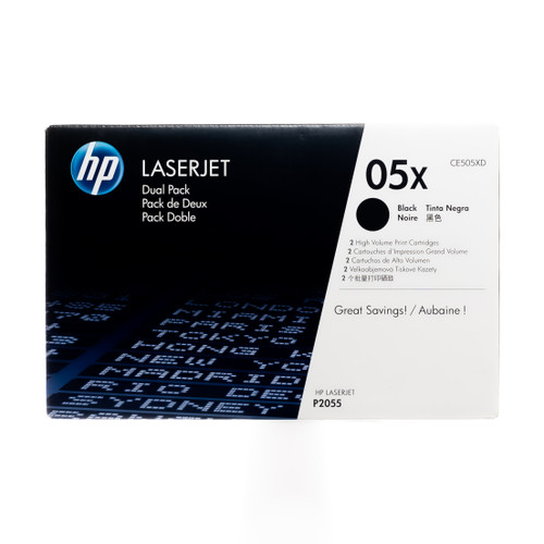 Original HP 05X 2-Pack CE505XD High-Yield Black LaserJet Toner Cartridges Dual Pack