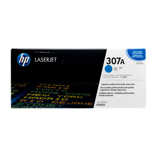 Original HP 307A Cyan CE741A LaserJet Toner Cartridge