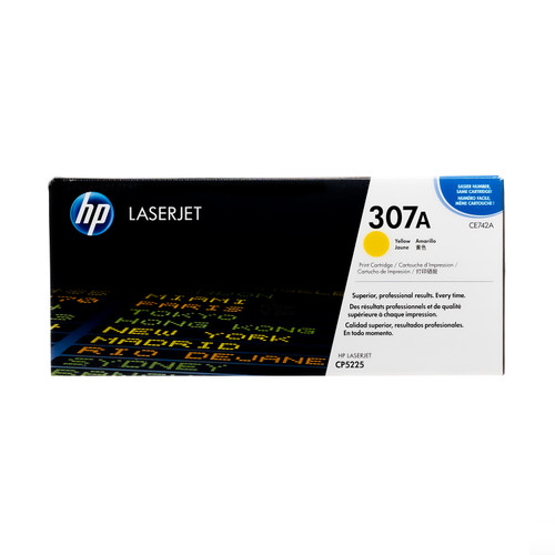 Original HP 307A Yellow CE742A LaserJet Toner Cartridge