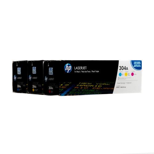 Original HP 304A CF340A LaserJet Toner Cartridges Tri-Color 3-Pack Cyan Magenta Yellow