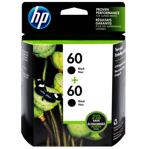 Original HP 60 2-pack Black Original Ink Cartridges