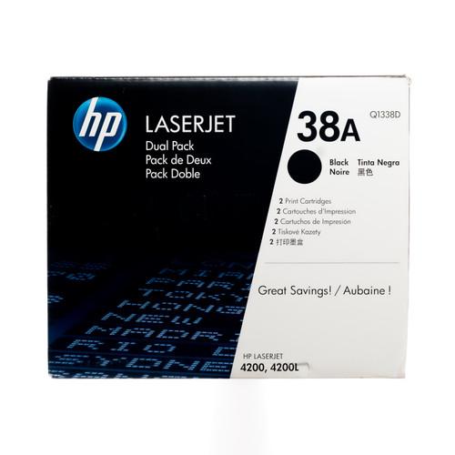 Original HP 38A 2-Pack Q1338D Black LaserJet Toner Cartridges Dual Pack