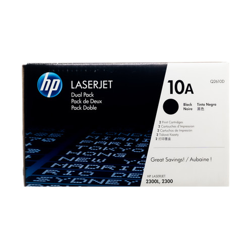 Original HP 10A 2-Pack Q2610D Black LaserJet Toner Cartridges Dual Pack