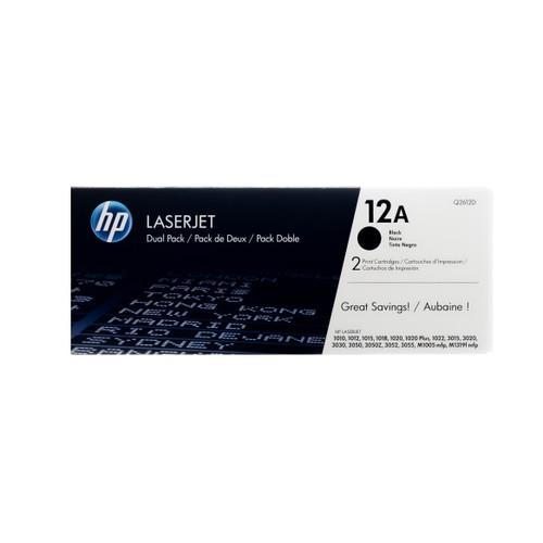Original HP 12A 2-Pack Q2612D Dual Pack Black LaserJet Toner Cartridge