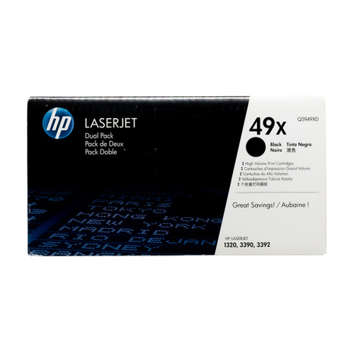 Original HP 49X 2-Pack Q5949XD Black High-Yield LaserJet Toner Cartridges Dual Pack
