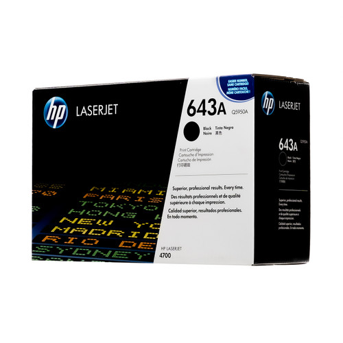 Original HP 643A Black Q5950A LaserJet Toner Cartridge