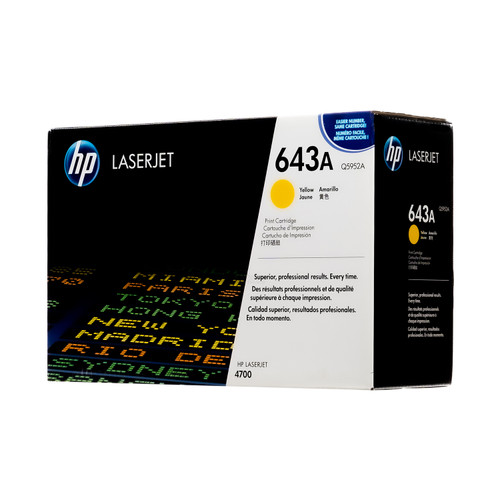 Original HP 643A Yellow Q5952A LaserJet Toner Cartridge