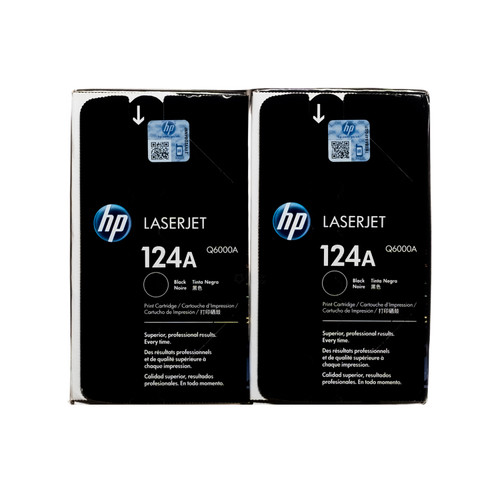 Original HP 124A 2-Pack Black Q6000AD LaserJet Toner Cartridges Dual Pack