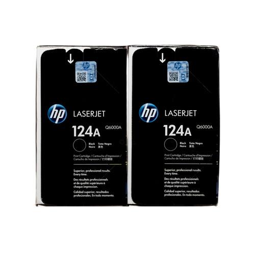 Original HP 124A 2-Pack Black Q6000AD LaserJet Toner Cartridges Dual Pack
