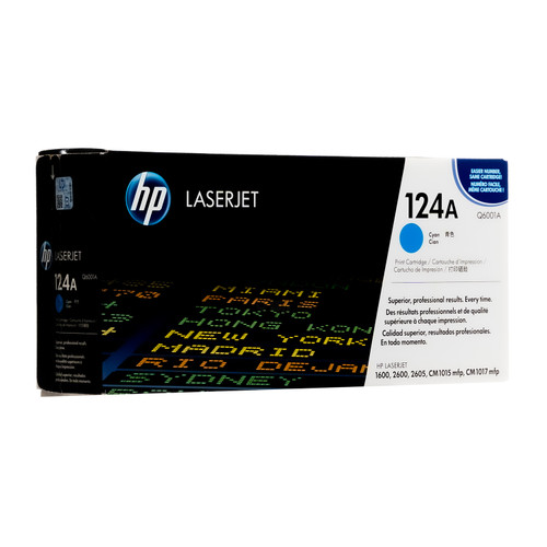 Original HP 124A Cyan Q6001A LaserJet Toner Cartridge