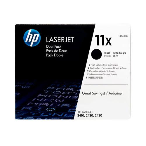 Original HP 11X 2-Pack Q6511XD Black High-Yield Laser Toner Cartridges Dual Pack