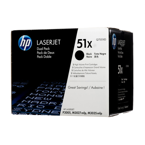 Original HP 51X 2-Pack Q7551XD Black High-Yield LaserJet Toner Cartridges Dual Pack
