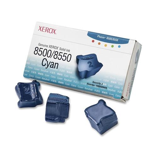 Original Xerox 108R00669 Solid Ink Sticks for Phaser 8500/8550 Printers  3 Sticks/Cyan