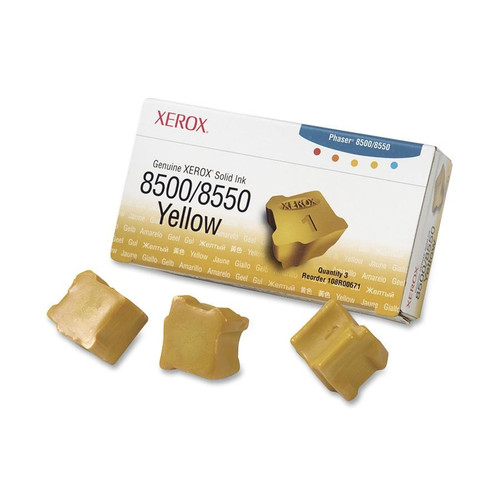 Original Xerox 108R00671 Solid Ink Sticks for Phaser 8500/8550 Printers  3 Sticks/Yellow