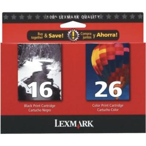 Original Lexmark Value Pack Inkjet Cartridges  1ea of 10N0016-Blk &amp  10N0026-Tri-Color