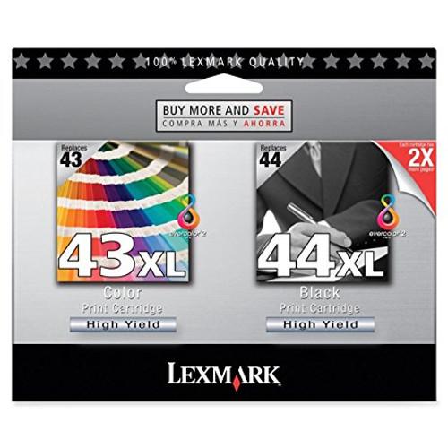 Original Lexmark 43XL 44XL Black and Color High Yield Ink Cartridge Dual Pack 18Y0372