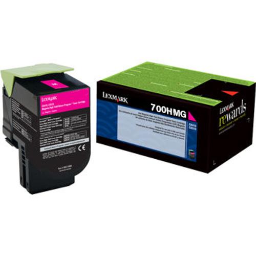 Original Lexmark 70C0HMG Unison 701HM Return Program Magenta High-Yield Toner Cartridge