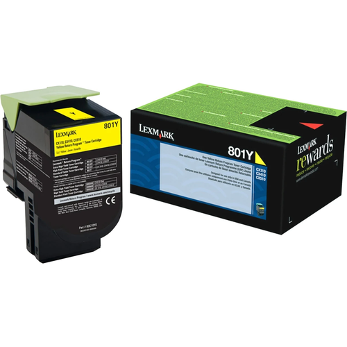 Original Lexmark 80C10Y0 801Y Yellow Return Program Unison Toner Cartridge