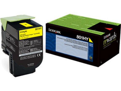 Original Lexmark 80C1HY0 801HY Yellow Return Program High-Yield Toner Cartridge Unison