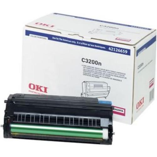 Original OKI 42126659 Image Drum with Toner Cartridge for C3200N Printer  Magenta