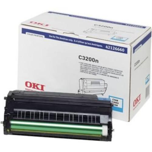 Original OKI 42126660 Image Drum with Toner Cartridge for C3200N Printer  Cyan