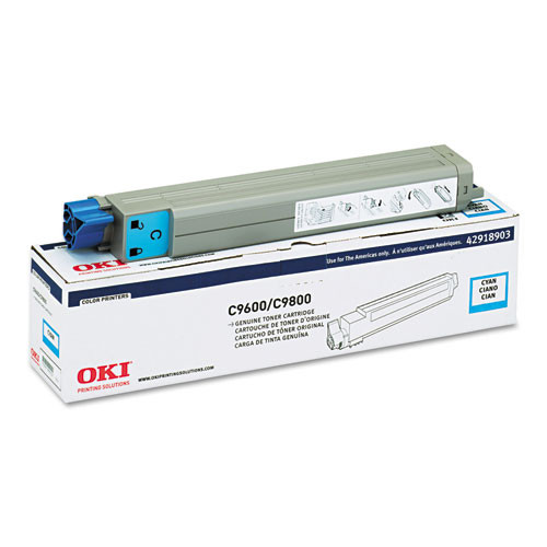 Original Oki 42918903 9600 9800 Cyan Toner Cartridge