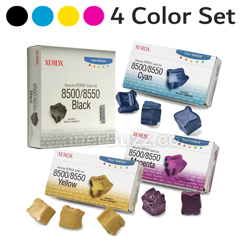 Original Xerox Phaser 8500/8550 Solid Ink Black Cyan Magenta Yellow 4-pack (6 per Pack) 108R00669 108R00670 108R00671 108R00672