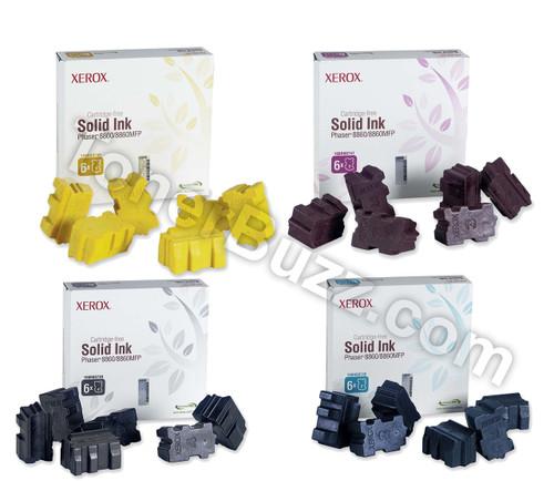 Original Xerox Phaser 8860 Black Cyan Magenta Yellow Solid Ink Sticks 4-Pack (6 per Pack) 108R00746 108R00747 108R00748 108R00749