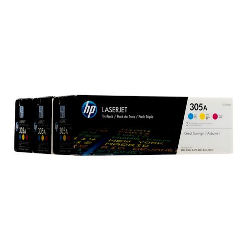 Original HP 305A CF370AM Tri-Color LaserJet Toner Cartridge 3-Pack