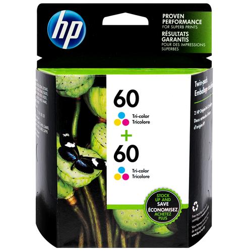Original HP 60 2-pack Tri-color Ink Cartridges
