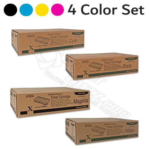 Original Xerox Phaser 6100 Black Cyan Magenta Yellow Toner Cartridge 4-Pack