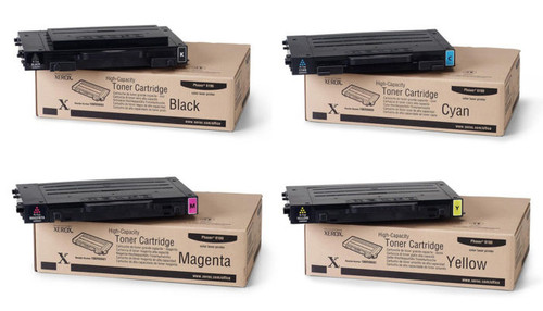 Phaser 6100HC | 106R00680 106R00681 106R00682 106R00684 | Original Xerox High-Yield Toner Cartridge Set – Black, Color