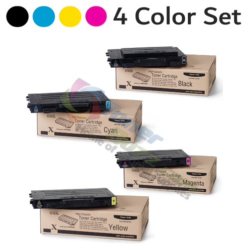 Original Xerox Phaser 6100 Black Cyan Magenta Yellow High-Yield Toner Cartridge 4-Pack 106R00680 106R00681 106R00682 106R00684
