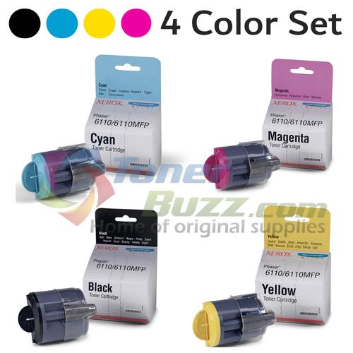 Original Xerox Phaser 6110 Black Cyan Magenta Yellow Toner Cartridge 4-Pack 106R01271 106R01272 106R01273 106R01274