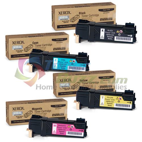 Original Xerox Phaser 6125N Black Cyan Magenta Yellow Toner Cartridge 4-Pack 106R01331 106R01332 106R01333 106R01334