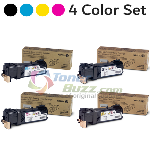 Original Xerox Phaser 6128 Black Cyan Magenta Yellow Toner Cartridge 4-Pack 106R01452 106R01453 106R01454 106R01455